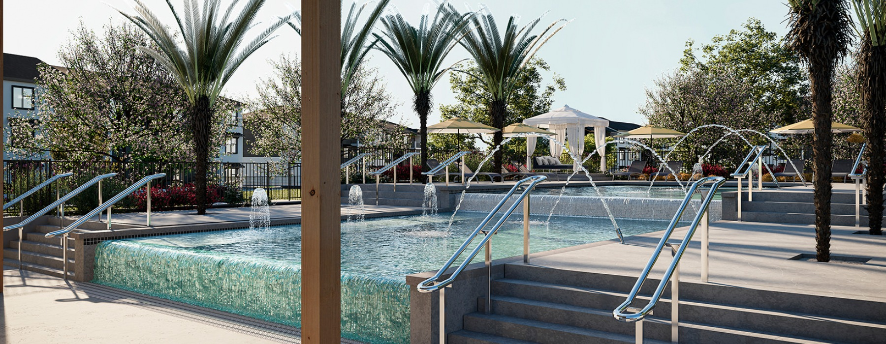 Zero-Edge Multi-Level Pool With fountain & Tanning Shelves At Abacus Alamo Ranch Apartments In San Antonio, TX
